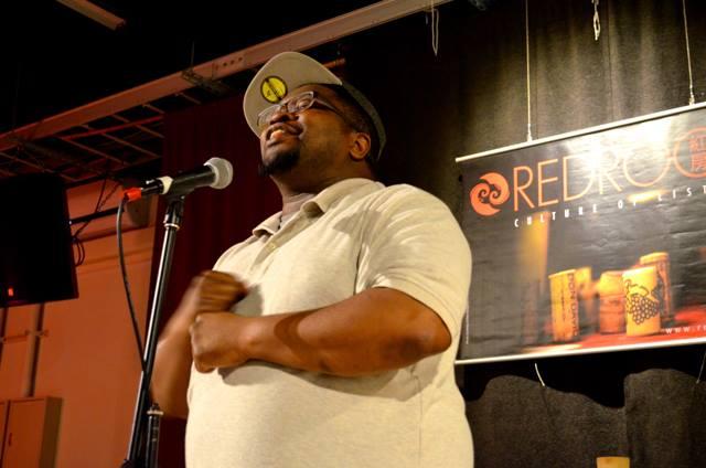 Marcus begins his spoken word performance